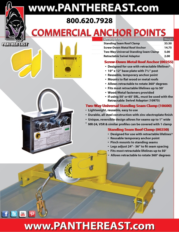 GUARDIAN FALL PROTECTION - Universal Standing Seam Roof Clamp