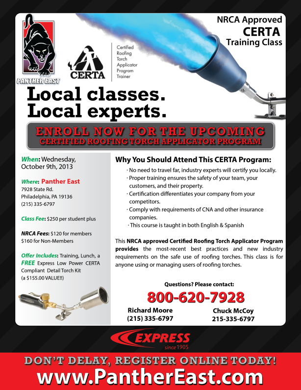CERTA Roofing Torch Applicator Training at Panther East